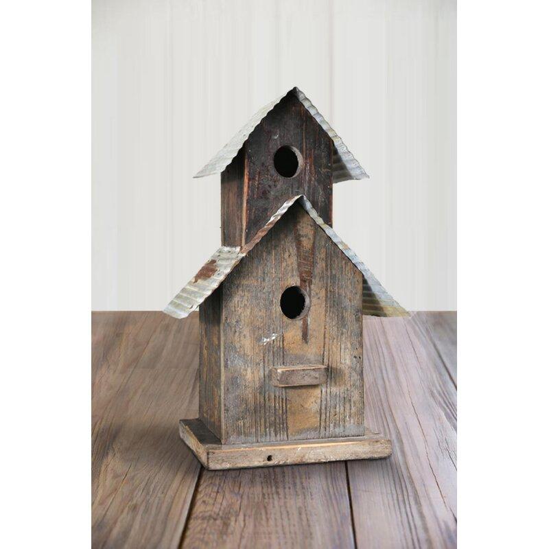 August Grove Mjej Corrugated Top Double Deck Wooden 15 In X 6 5 In X 7 5 In Birdhouse Wayfair
