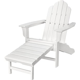 Galaz All-Weather Contoured Plastic Adirondack Chair with Ottoman