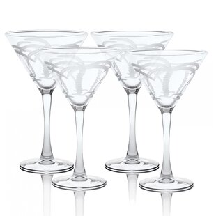 Palm Tree 10 oz. Martini Glass Cocktail Glasses (Set of 4)