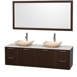 Amare 72 Double Espresso Bathroom Vanity Set with Mirror