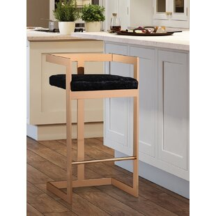 Sallie Velvet 30.1 Bar Stool Everly Quinn