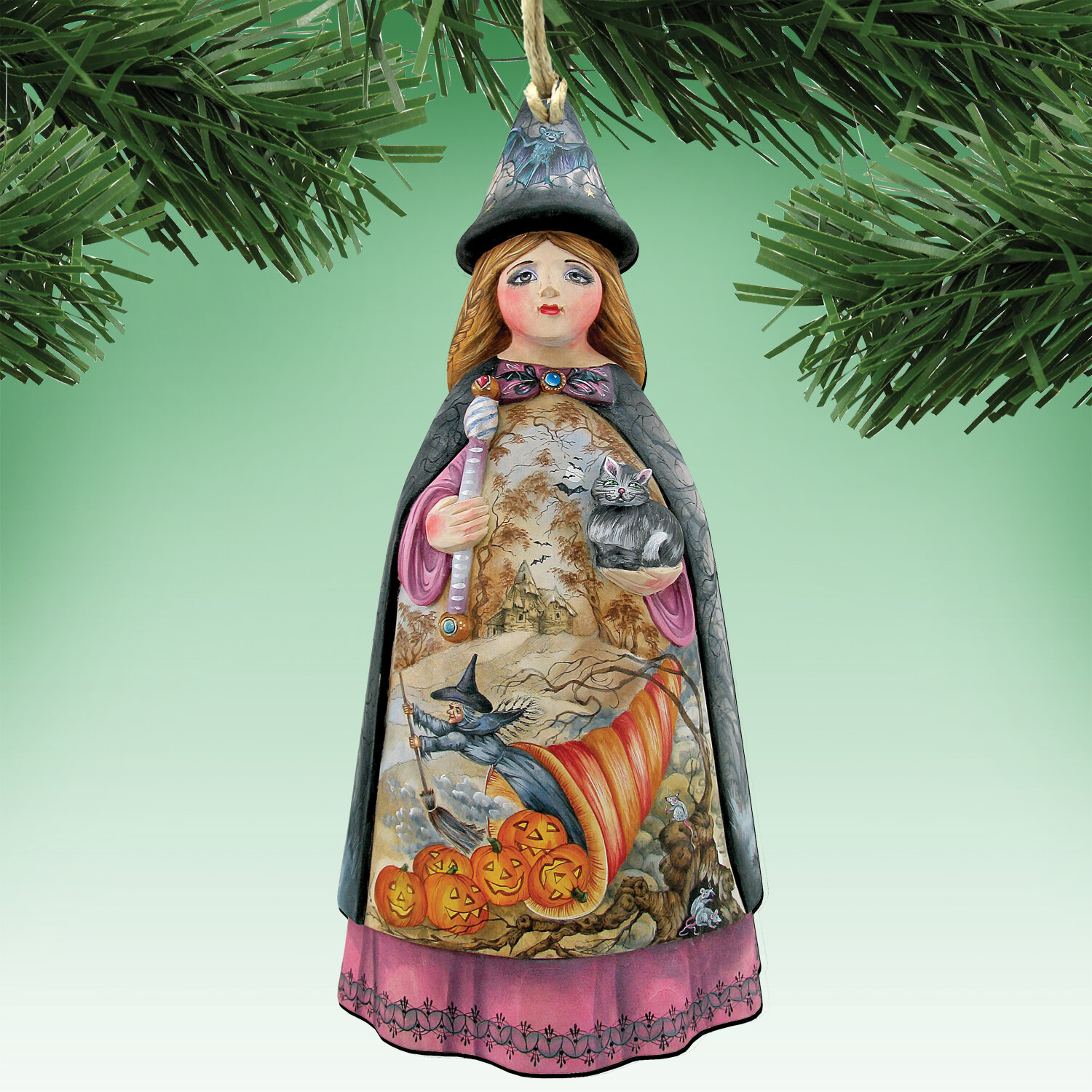 The Holiday Aisle Halloween Witch Shaped Wood Ornament Wayfair