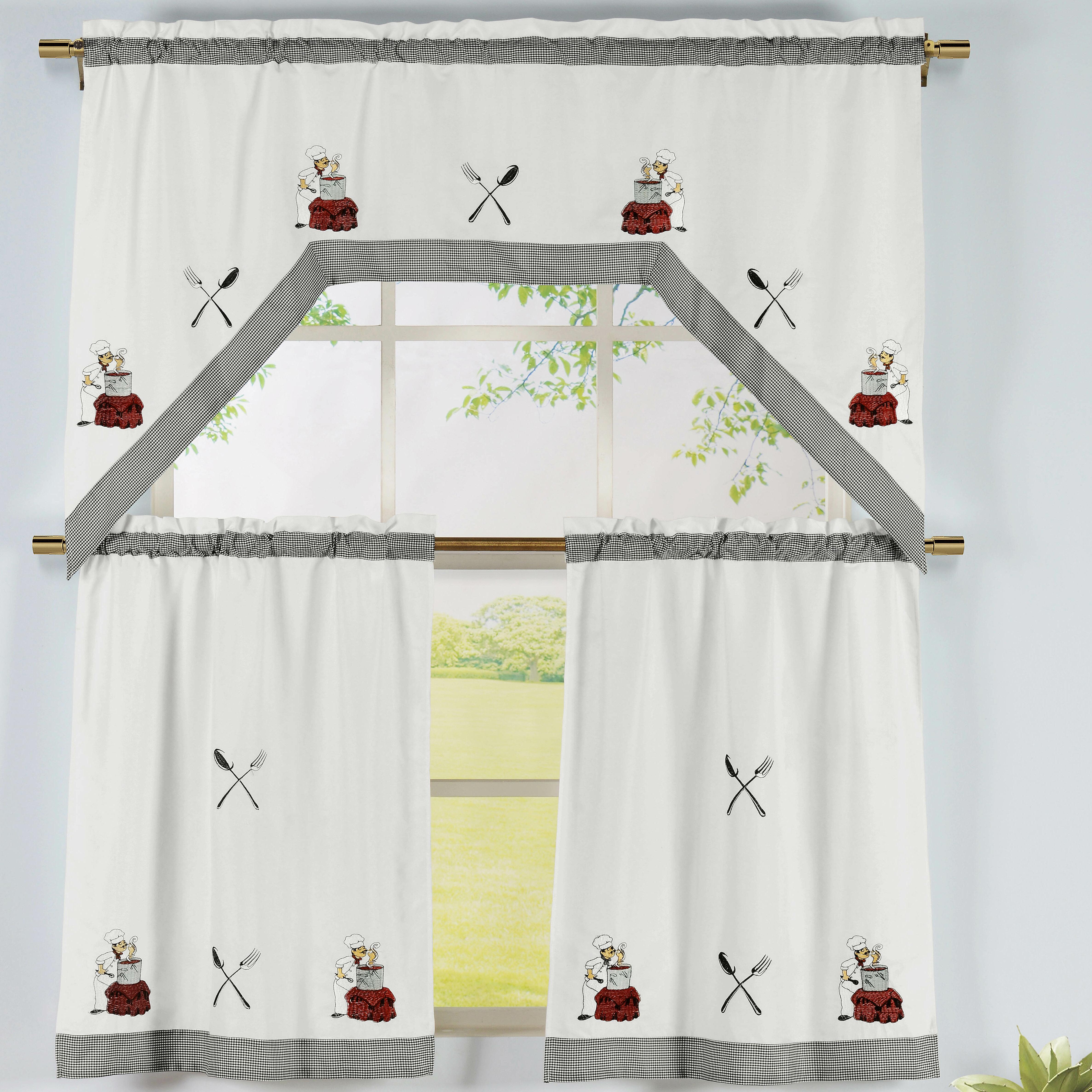 Kitchen Chef Tier and Valance Window Curtain Set
