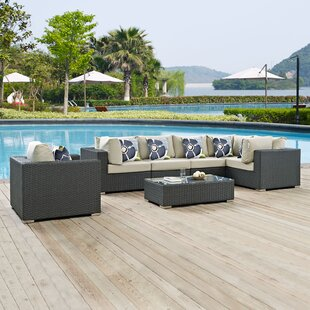 Brayden Studio Tripp 7 Piece Sunbrella Sectional Set with Cushions