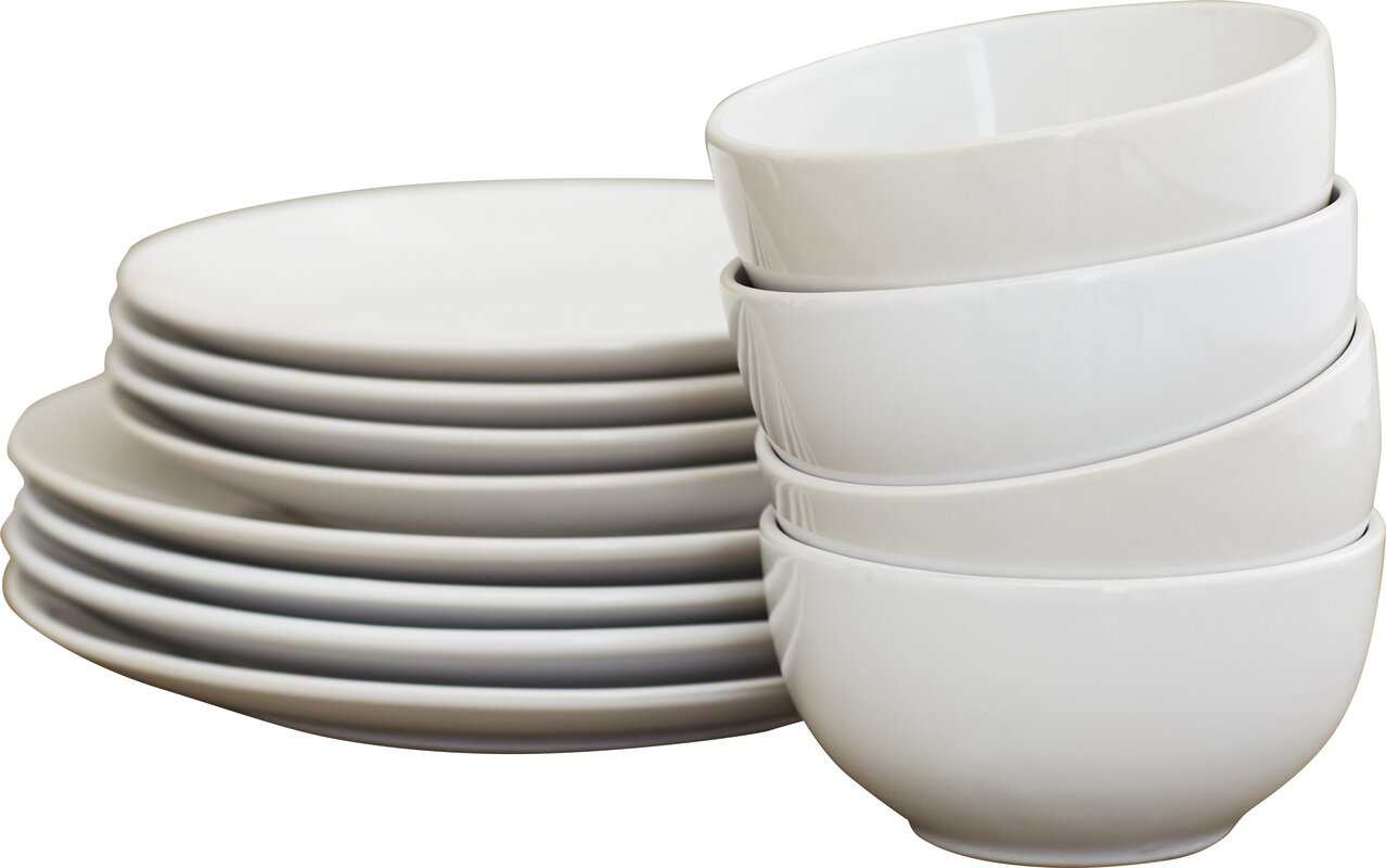 Wayfair Basics 12 Piece Stoneware Dinnerware Set Service for 4  sc 1 st  Wayfair & Wayfair Basics™ Wayfair Basics 12 Piece Stoneware Dinnerware Set ...