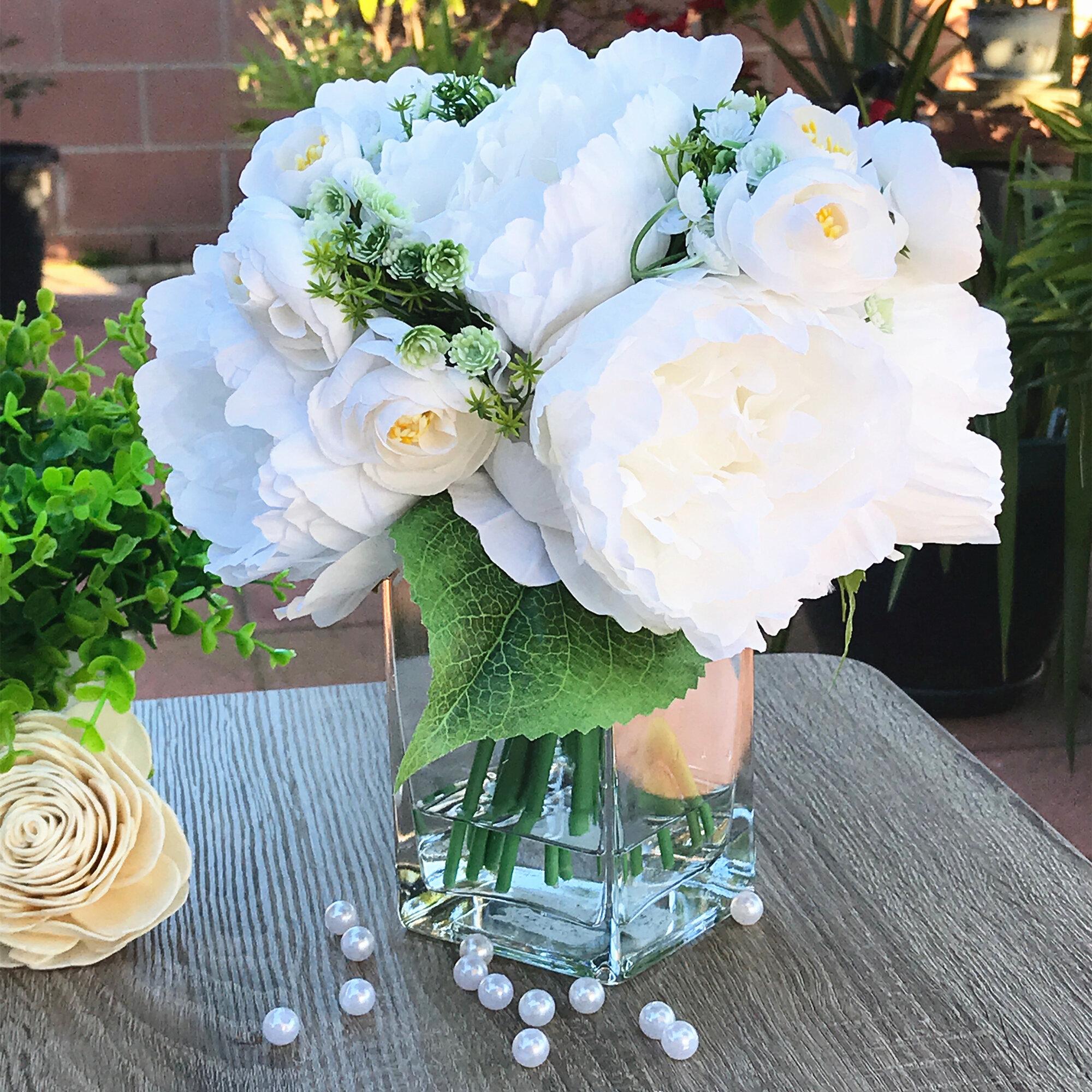 House Of Hampton Artificial Peony Mixed Flower Arrangement In Vase Reviews Wayfair