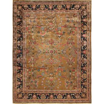 Indian Fl Room Antique Navy Blue Brown Area Rug