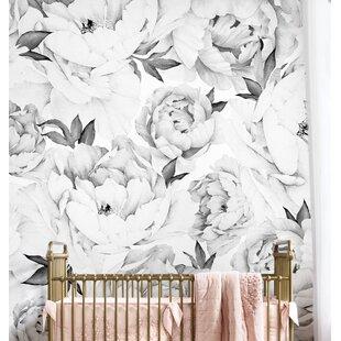 Peony Floral And Botanical Matte Peel Stick Wallpaper Tile Set Of 5