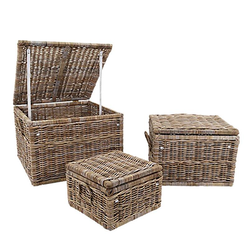 August Grove 3 Piece Wicker Basket Set Reviews Wayfair