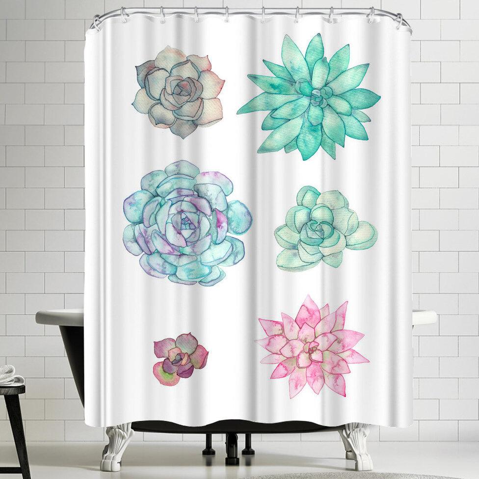 East Urban Home Elena Oneill Succulent Shower Curtain Reviews