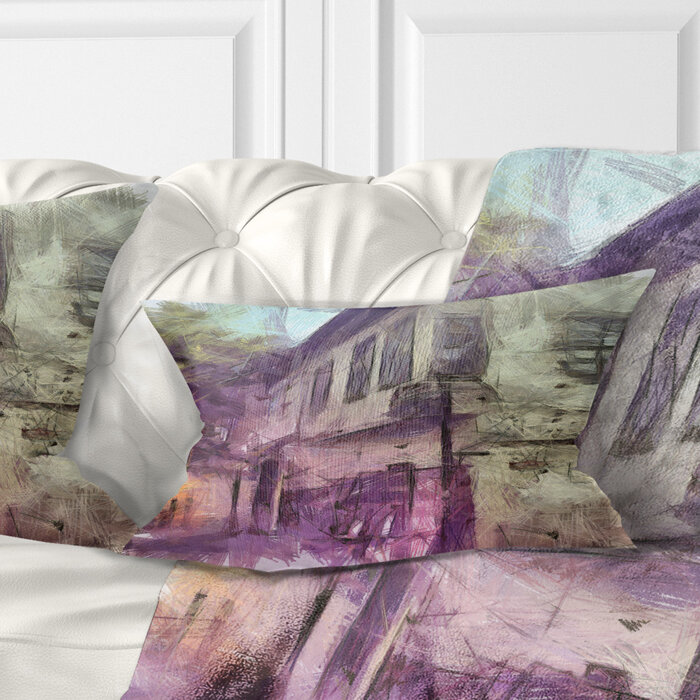 East Urban Home Cityscape Old City Street Watercolor Sketch Lumbar Pillow Wayfair Ca