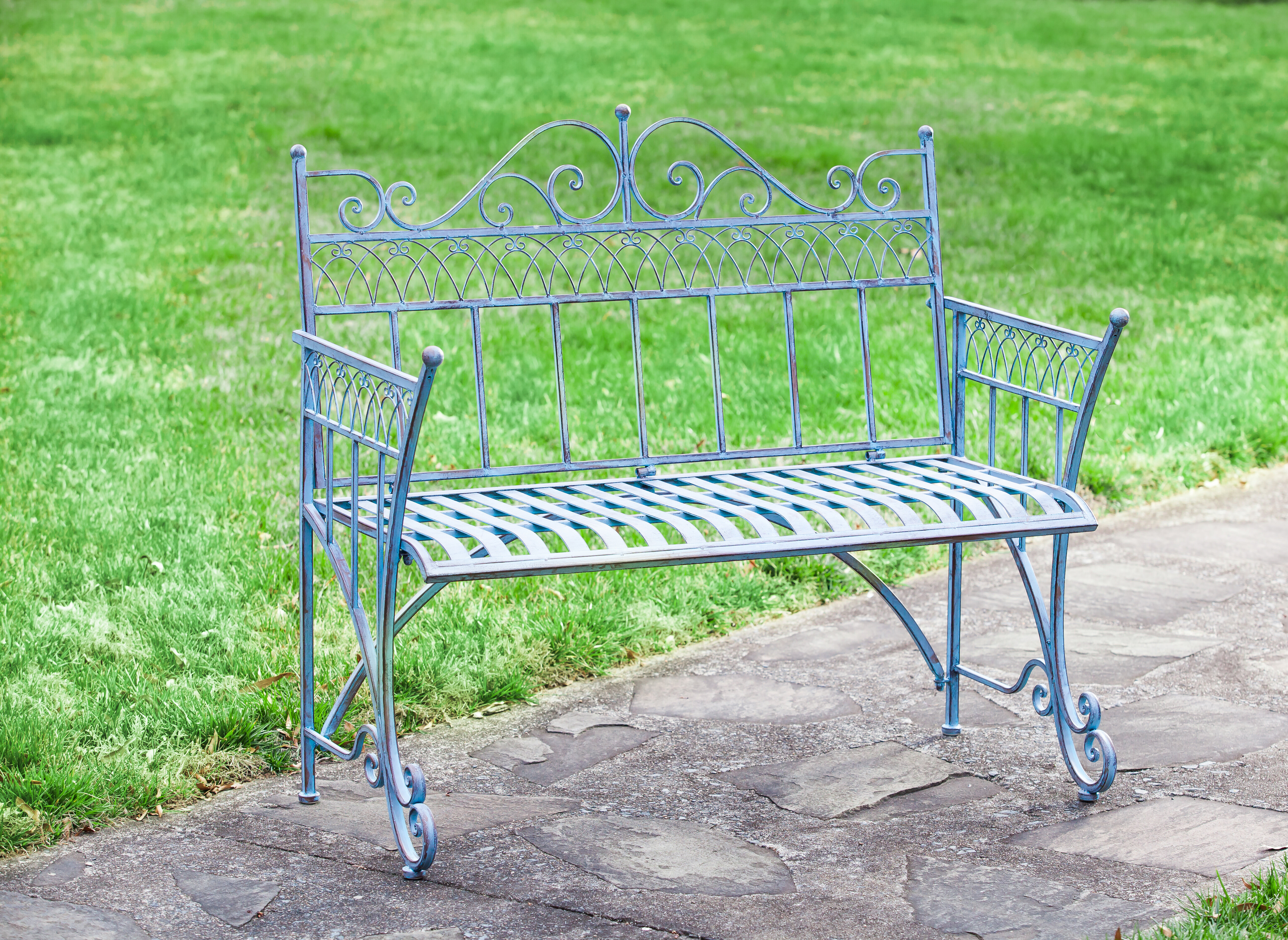 outdoor garden shipping today free gray home bench bluebird product overstock metal the barn