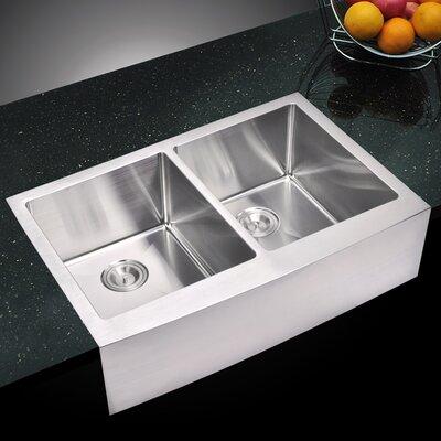 059 Corner Radius 5050 Stainless Steel 33 L x 22 W Double Apron Kitchen Sink dCOR design