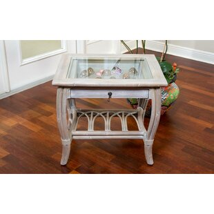 Presley Glass Top End Table with Drawer