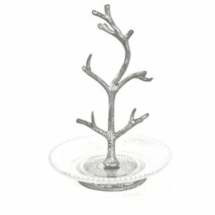 Metal Tree Branch on Glass Plate Jewelry Stand By Ophelia & Co.