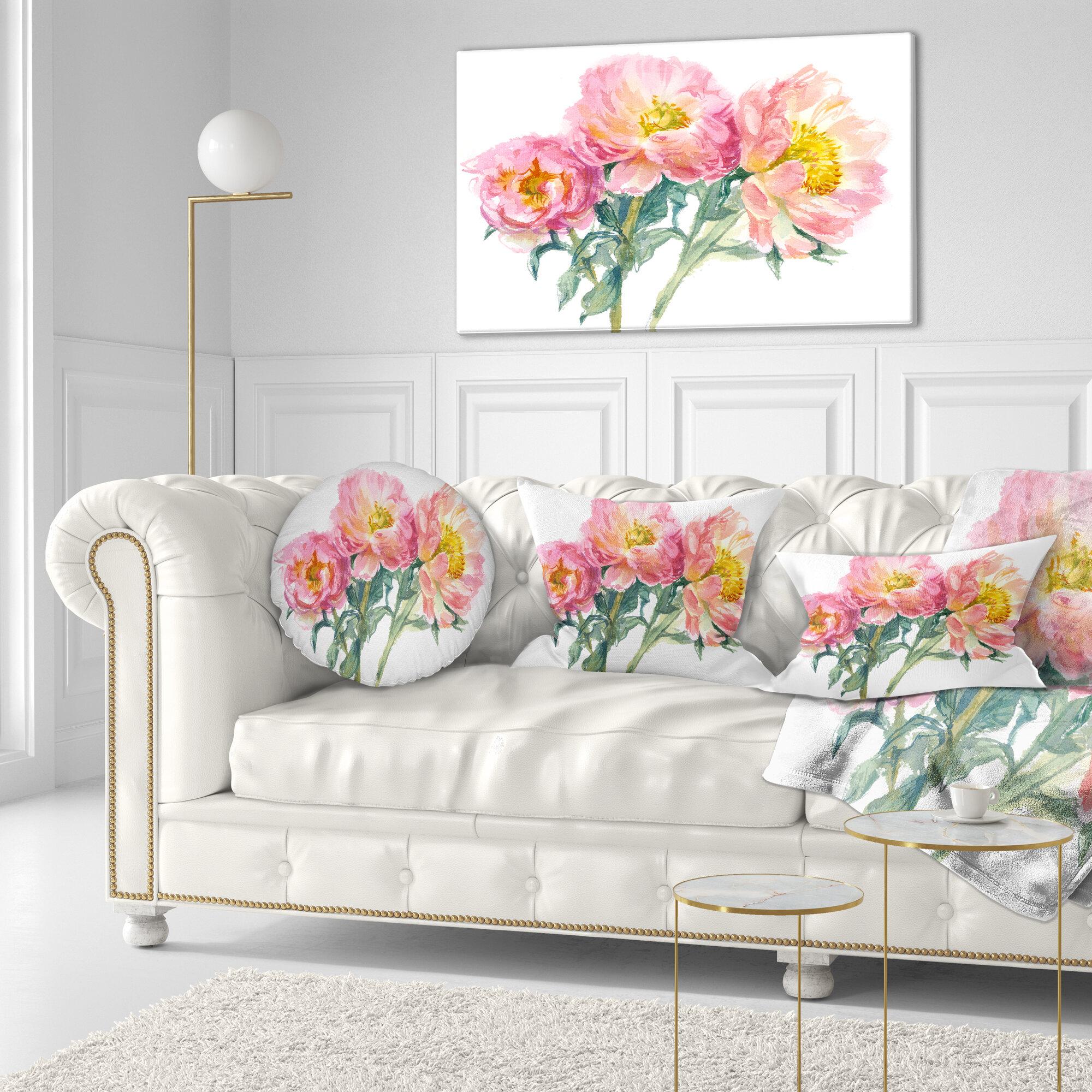 Enjoyable Flower Bouquet Of Peony Watercolor Lumbar Pillow Short Links Chair Design For Home Short Linksinfo