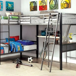 Filbert Twin L Bunk Bed With Shelves by Harriet Bee Bargain