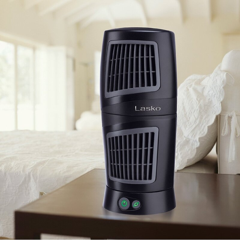 Twist-Top Tower Fan Portable Desktop Full Oscillation Indoor Black LASKO 12 in