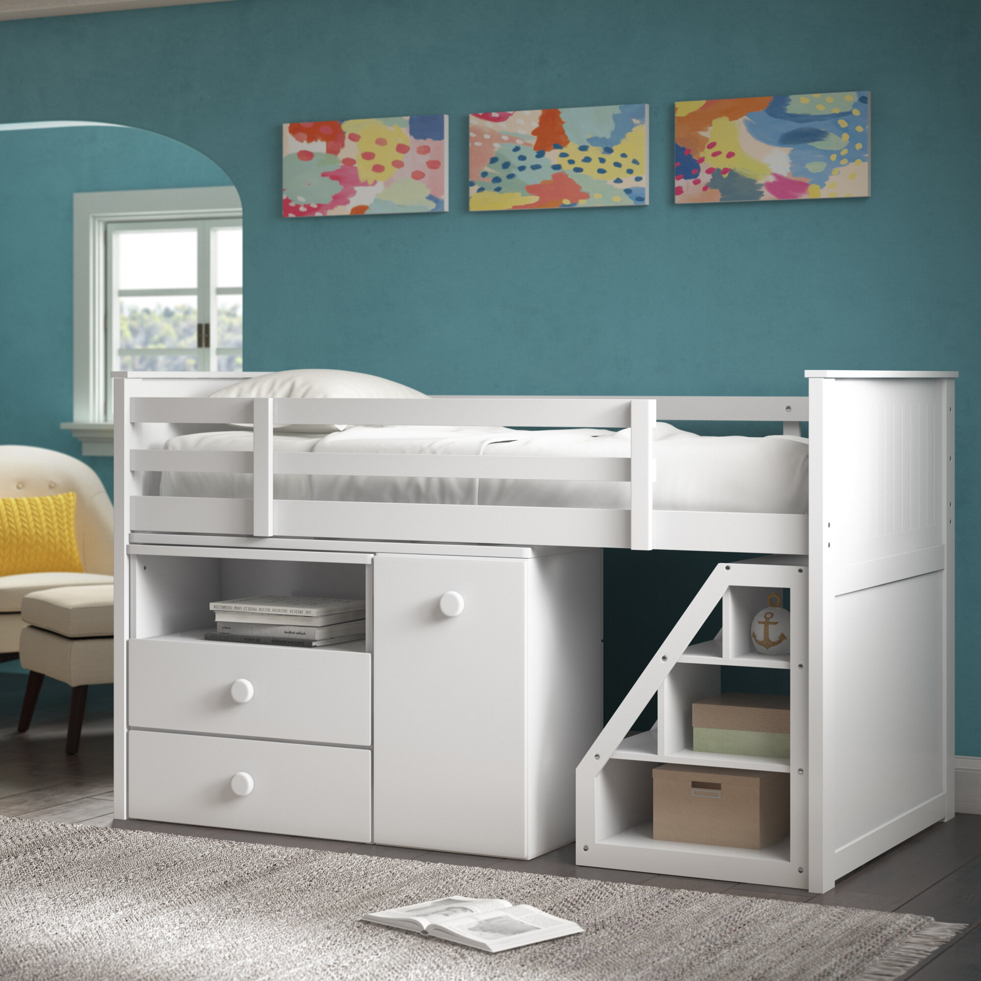 Picture of: Harriet Bee Mitch Twin Loft Bed With Drawers And Shelves Reviews