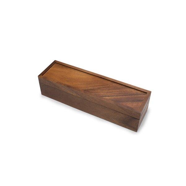 Acacia Wood Rectangular Tea Box With 10 Compartments for Easy Tea Assortment