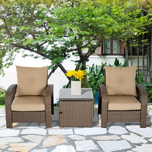 Fleur De Lis Living RosaRio Outdoor 3 Piece Rattan 2 Person Seating Group with Cushions