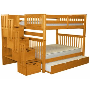 Tena Full over Full Stairway Bunk Bed with Trundle