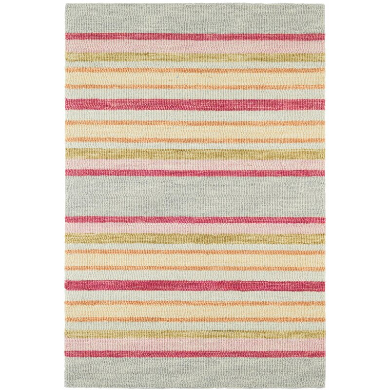 Dash And Albert Rugs Provence Striped Hand Hooked Wool Pink Beige Gray Area Rug Wayfair
