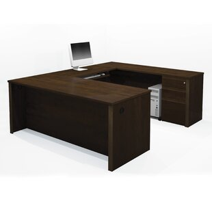 Red Barrel Studio Bormann Reversible U-Shape Executive Desk width 3 Drawers