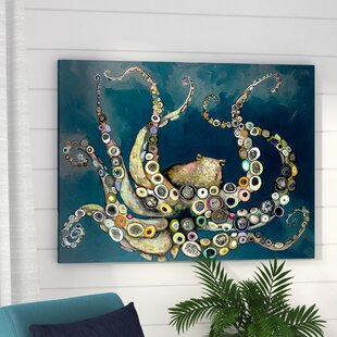 'Octopus in the Navy Blue Sea' Framed on Canvas by Beachcrest Home