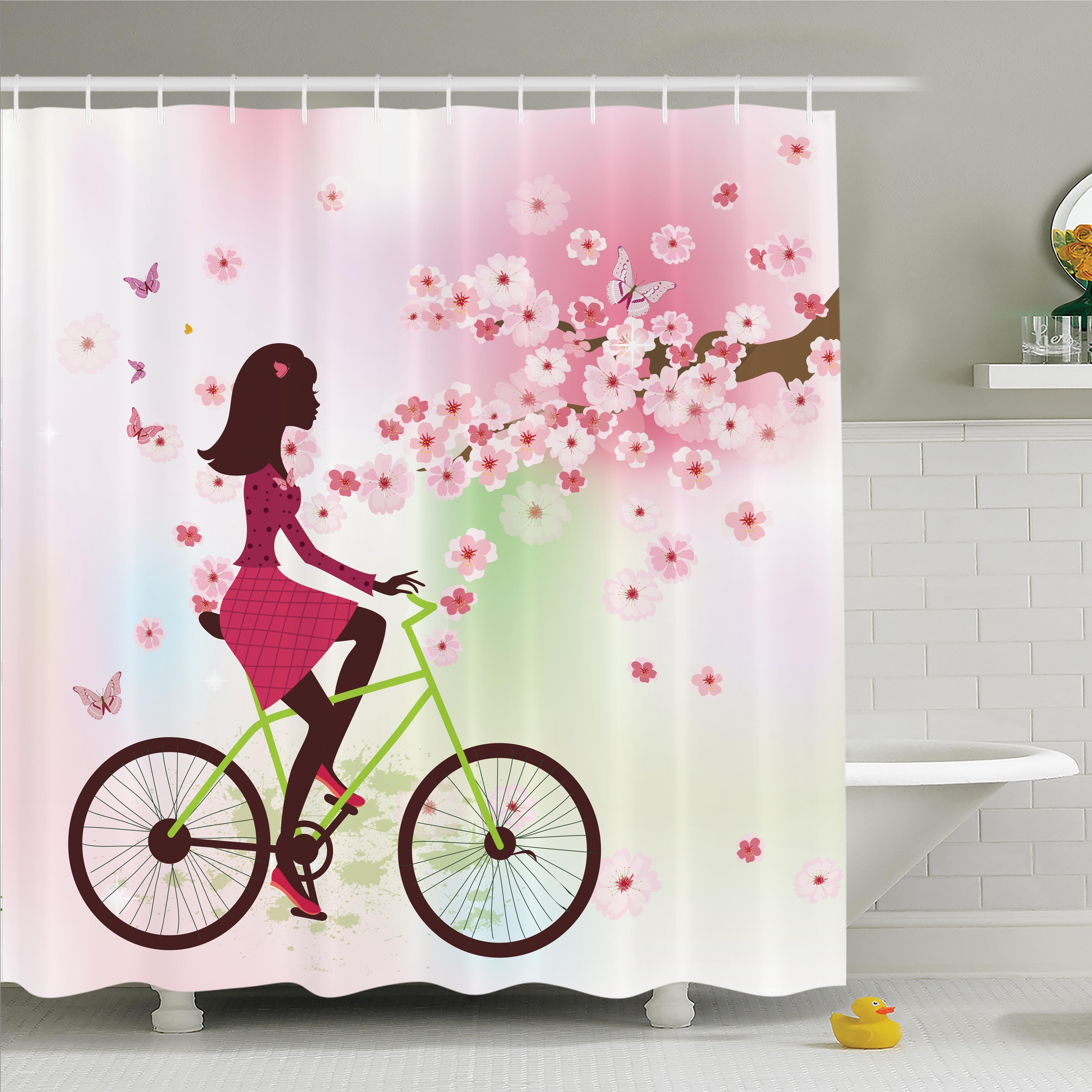 Ambesonne Cherry Bloom Lady On Bike Shower Curtain Set