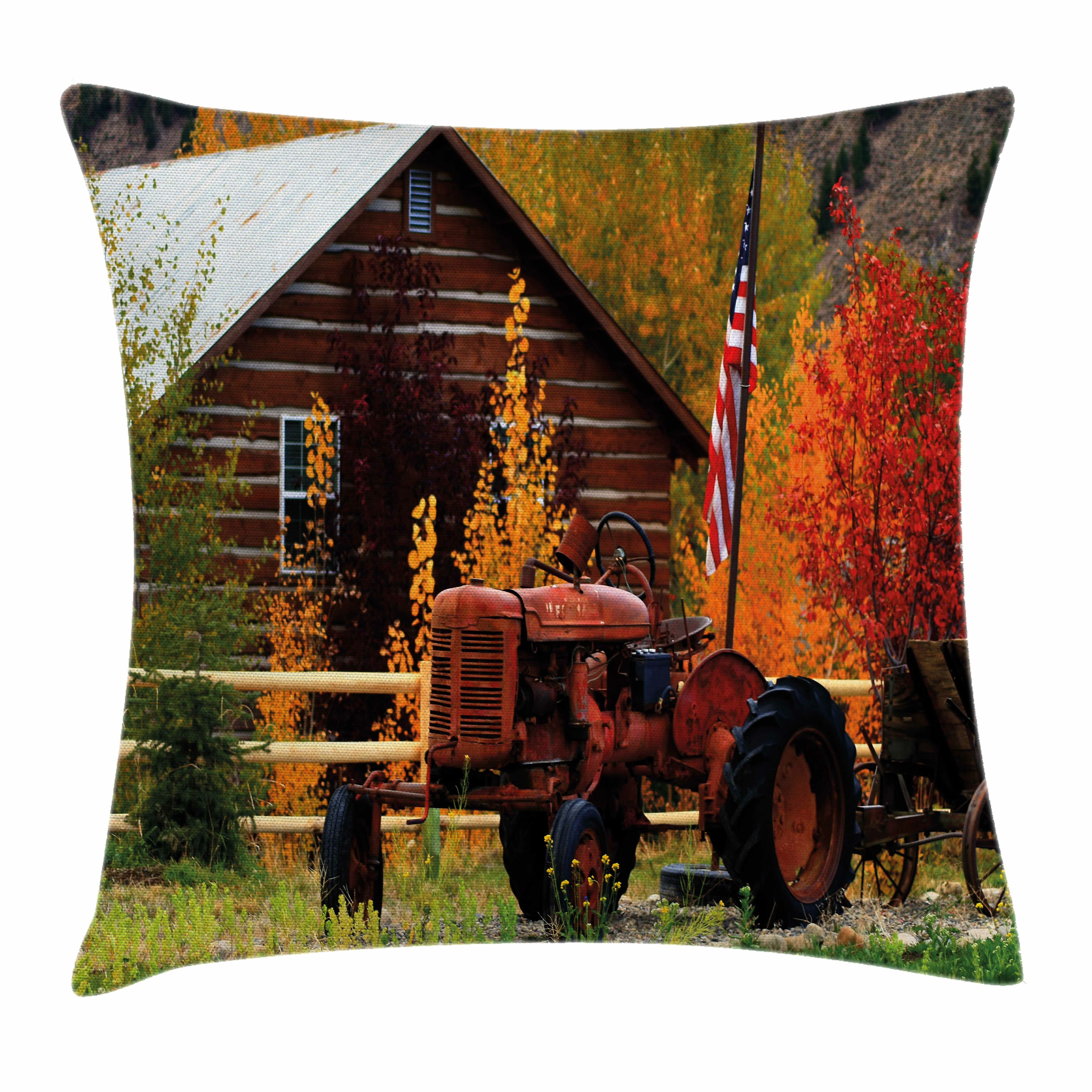 The Holiday Aisle Fall Decor Rustic Cabin Tractor Square Pillow Cover Wayfair