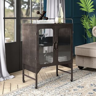 Greyleigh Murchison Metal and Glass Cabinet Bar Cart