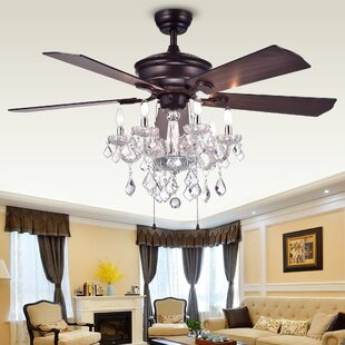 Chandelier ceiling fan combo wayfair 52 ridgway 5 blade ceiling fan mozeypictures Choice Image