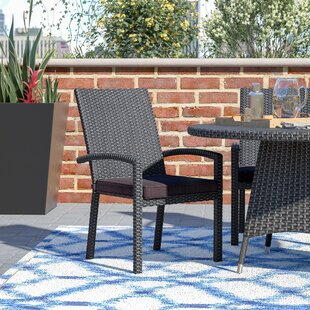 Kinley Stacking Patio Dining Chair with Cushion (Set of 4)