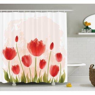 Best Reviews Bazile Romantic Tulip Blossoms Shower Curtain ByLatitude Run