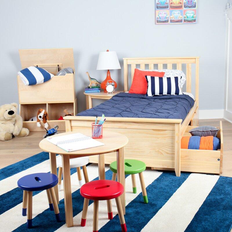 solid wood twin platform bed with under bed storage drawer