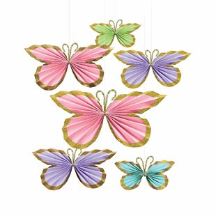 Spring Butterfly Fans Paper Disposable Centerpieces & Hanging Décor (Set of 12)