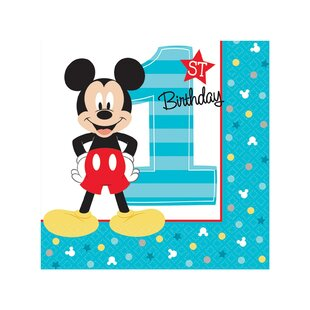 Disney Mickey Mouse 1st Birthday Paper Disposable Beverage Napkin