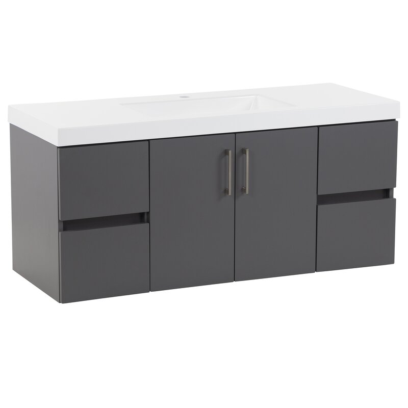 Zipcode Design Adria 49 Wall Mounted Single Bathroom Vanity Set Reviews Wayfair