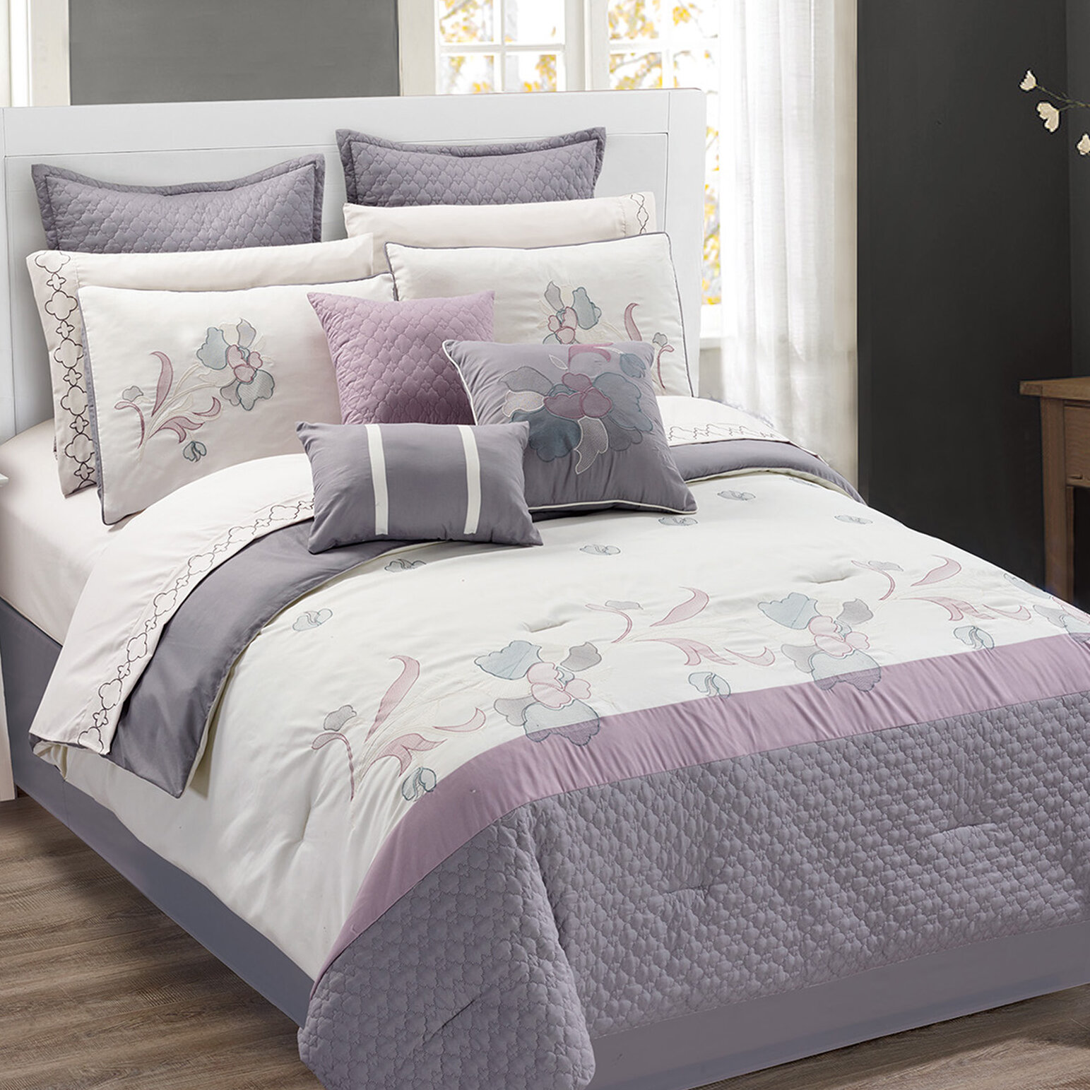 comforter bath set shipping bedding sadie mi product on zone overstock over free orders lilac piece