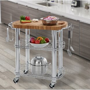 Kuykendall Rolling Oval Solid Bamboo Kitchen Cart with Butcher Block Top