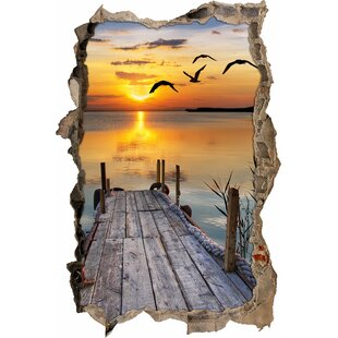 Small Jetty Under A Lovely Sunset Wall Sticker By East Urban Home
