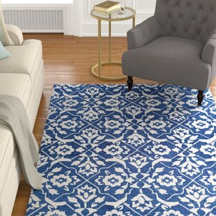 Find Fairgrove Tulip Lattice Hand-Woven Blue/White Area Rug By Charlton Home