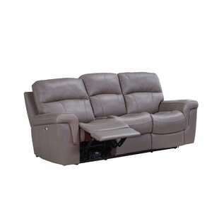 Haith Power Genuine Leather Reclining Sofa by Red Barrel Studio