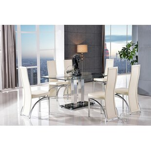 Biddulph Steel And Glass Dining Set With 6 Chairs By Metro Lane