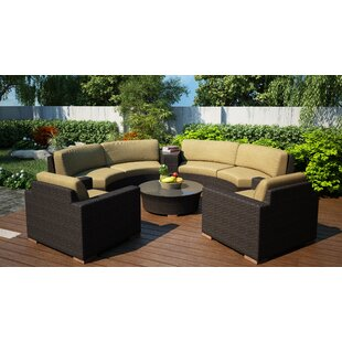 Harmonia Living Arden 6 Piece Curved Sectional Set with Cushions
