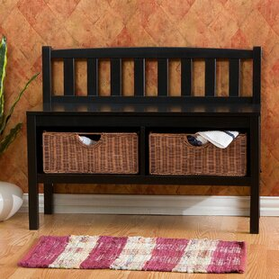 Beachcrest Home Offerman Wood Storage Bench with Rattan Baskets