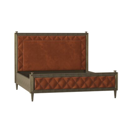 Caracole Classic Solid Wood and Upholstered Low Profile Platform Bed  Body Fabric: Camel Herringbone, Frame Color: Royal Gold Leaf, Size: Queen
