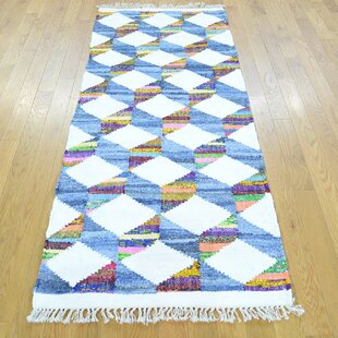 Price comparison One-of-a-Kind Galilea Handmade Kilim Runner 2'7 x 6'4 Wool Blue/White Area Rug By Isabelline