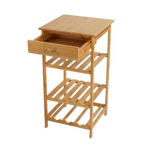 4 Tier Storage Rack Utility Organizer Bamboo Prep Table